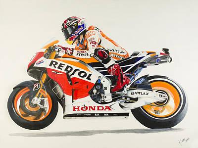Motogp Painting - Marc Marquez by John Savage