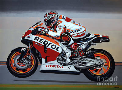 Motorcycle Wall Art - Painting - Marc Marquez by Paul Meijering