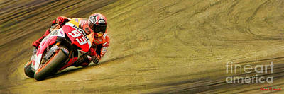 Photograph - Marc Marquez Uses His Elbow Long Version  by Blake Richards