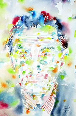 Dadaism Painting - Marcel Duchamp - Watercolor Portrait by Fabrizio Cassetta