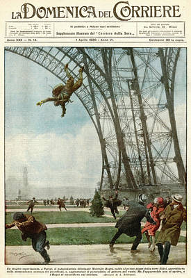 Eiffel Tower Drawing - Marcel Haget Tests His  Parachute by Mary Evans Picture Library