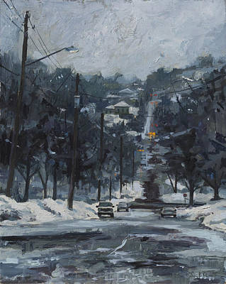 Stop Sign Painting - March Looking North by David Owens