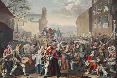 Prostitute Drawing - March Of The Guards To Finchley by William Hogarth