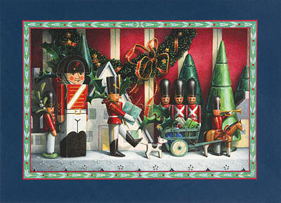 Toy Soldiers Painting - March Of The Wooden Soldiers by Lynn Bywaters