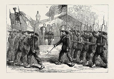 President Lincoln Drawing - March Past Of The Garibaldi Guard Before President Lincoln by American School