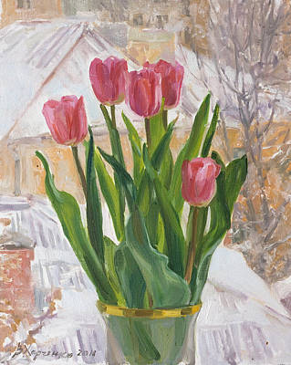 Spring Flowers Painting - March Snow by Victoria Kharchenko