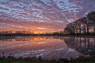 Reflection On Pond Photograph - March Sunrise In A Little Town Called Sunset by Bonnie Barry