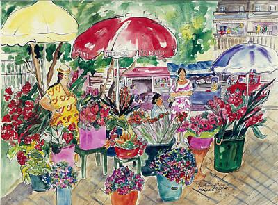 Painting - Marche De Papeete by Elaine Elliott