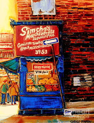 Vanishing Storefronts Painting - Marche Fruiterie Simcha Montreal Memories Corner Store Depanneur Montreal Patrimonie History   by Carole Spandau