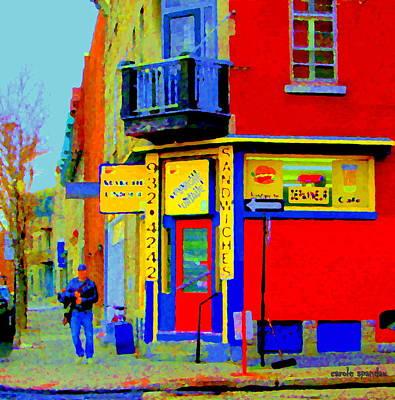 Verdun Restaurants Painting - Marche Unique Cafe Sandwich Depanneur Rue St. Jacques St. Henri  Street Scenes Carole Spandau by Carole Spandau