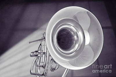 Photograph - Marching French Horn Antique Classic In Sepia 3425.01 by M K  Miller