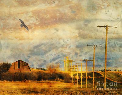 Telephone Poles Digital Art - Marching Poles by Judy Wood