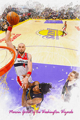 Marcin Gortat Of The Washington Wizards  Original by Don Kuing