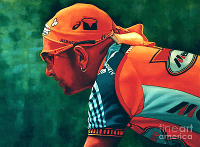 Bicycling Painting - Marco Pantani 2 by Paul Meijering
