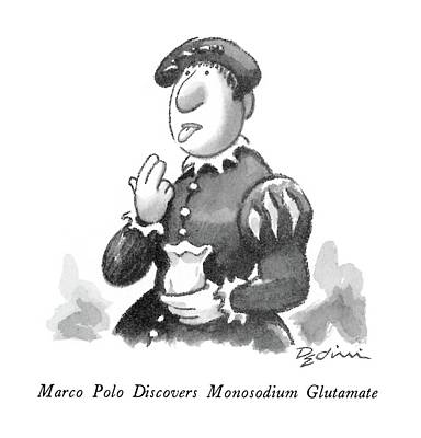 Discovered Drawing - Marco Polo Discovers Monosodium Glutamate by Eldon Dedini