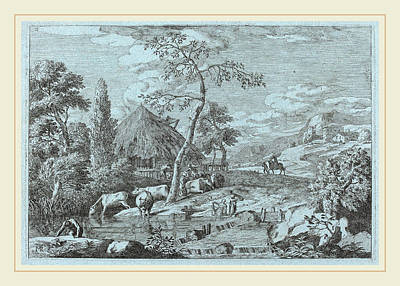 Farmyard Drawing - Marco Ricci Italian, 1676-1729, Cattle And Figures by Litz Collection
