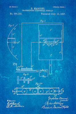 Marconi Radio Patent Art 1897 Blueprint Art Print