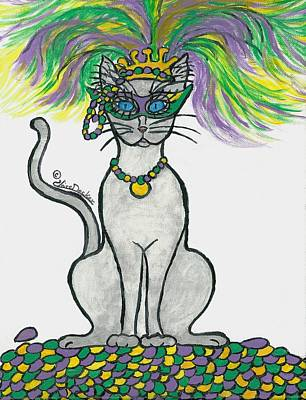 Mardi Gras Painting - Mardi Gras Cat by Claire Decker