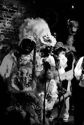 Photograph - Mardi Gras Indians At The Gold Mine Saloon In New Orleans by Louis Maistros