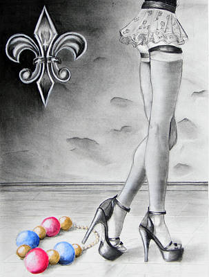 Fleur De Lis Drawing - Mardi Gras Legs by Steve Ellenburg