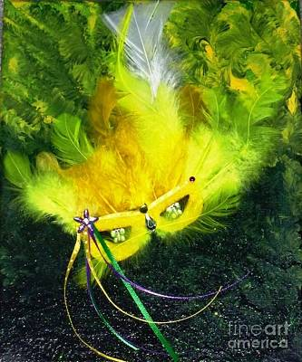 Art Print featuring the painting Mardi Gras On Green by Alys Caviness-Gober