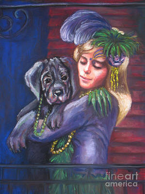 Mardi Gras Puppy Art Print by Beverly Boulet