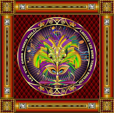 Jester Digital Art - Mardi Gras Queen Style-1 Vector Sample by Bill Campitelle