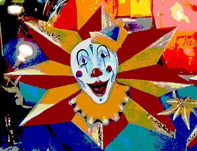 Mardi Gras Star Clown Posterized Print by Marian Bell