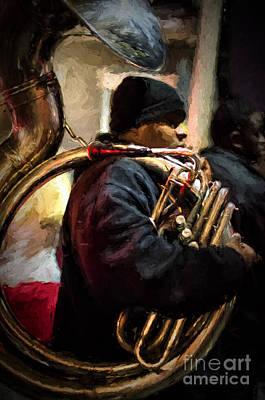Photograph - Mardi Gras Tuba Player _ Nola Night  by Kathleen K Parker