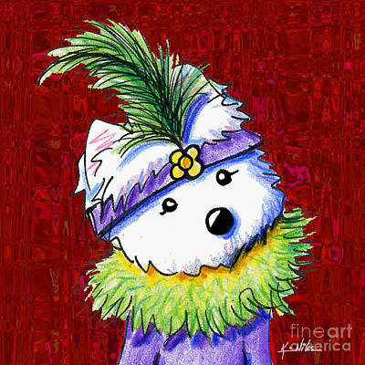 Kiniart Digital Art - Mardi Gras Westie Sur Rouge by Kim Niles