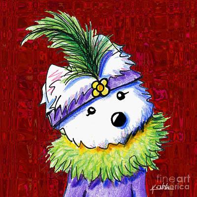 Westie Digital Art - Mardi Gras Westie Sur Rouge by Kim Niles