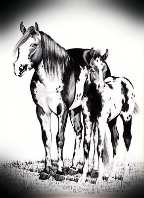 Mare And Colt Art Print by Cheryl Poland