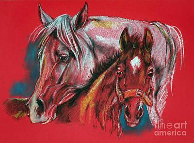 Mare With A Foal Art Print by Angel  Tarantella