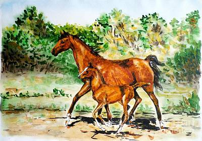 Painting - Mare With Foal by Zaira Dzhaubaeva