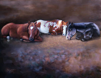 Paint Horse Digital Art - Mares At Rest by Barbara Hymer