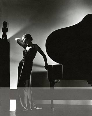 Worn Photograph - Margaret Horan Posing Beside A Piano by Edward Steichen