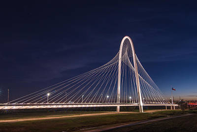 Margaret Hunt Hill Bridge In Dallas At Night Art Print