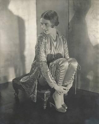 Margaret Shea Sitting On A Footrest Wearing Art Print