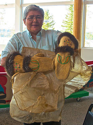 Margaret Wearing Beaver-cuffed Gloves She Made In Tlingit Heritage Center In Teslin-yukon-canada Original by Ruth Hager