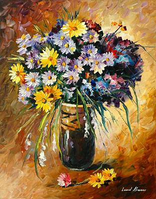 Poland Painting - Margaritas - Palette Knife Oil Painting On Canvas by Leonid Afremov