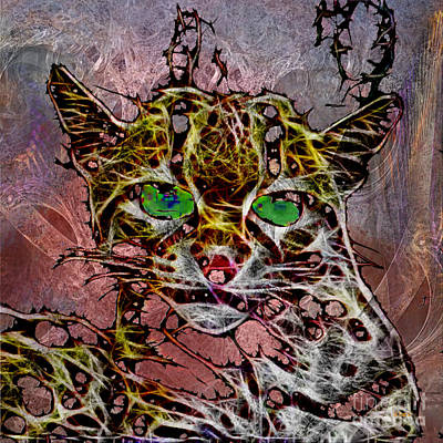 Digital Art - Margay The Merciless - Square Version by John Beck