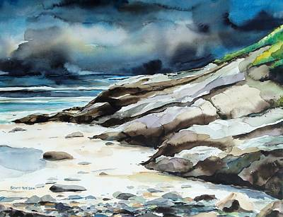 Incoming Tide Painting - Marginal Way Storm by Scott Nelson