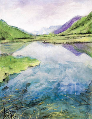 Art Print featuring the painting Margo's Mountains by Ron Richard Baviello
