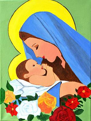 Art Print featuring the painting Maria And Baby Jesus by Magdalena Frohnsdorff