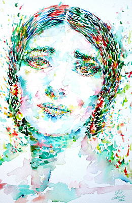Painting - Maria Callas - Watercolor Portrait.1 by Fabrizio Cassetta