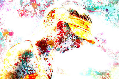 Serena Williams Digital Art - Maria Sharapova Paint Splatter 3p by Brian Reaves