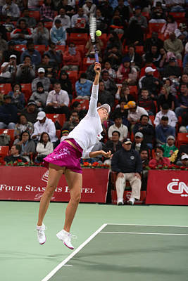 Maria Sharapova Serves In Doha Art Print by Paul Cowan