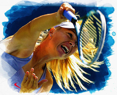 Wta Digital Art - Maria Sharapova  In Action During The Women's Singles  by Don Kuing
