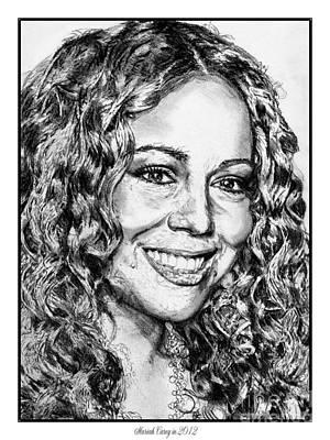 Famous Women Singers Drawing - Mariah Carey In 2012 by J McCombie