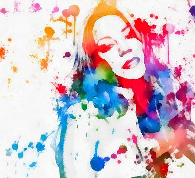 Culture Painting - Mariah Carey Watercolor Paint Splatter by Dan Sproul